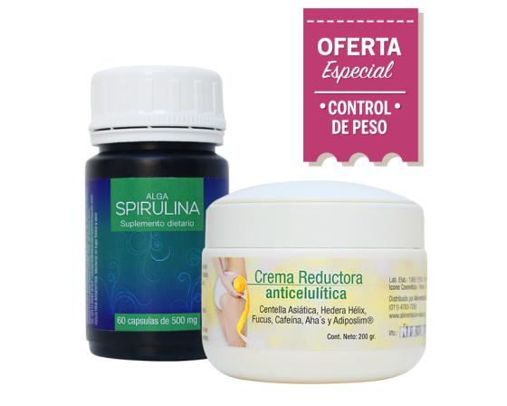 Combo Adelgazante 3: Alga Spirulina + Crema Anticelulítica